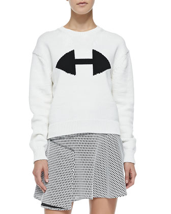 Ribbed Crewneck Sweater W/ Arrow Detail