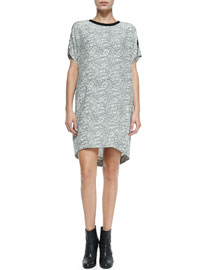 Lafayette Graphic Lace-Print Silk Shift Dress