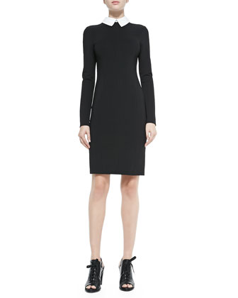 Maria Long-Sleeve Sheath Dress w/ Detachable Collar