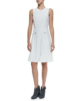 Nettie Sleeveless Zip-Pocket Dress W/ Dots