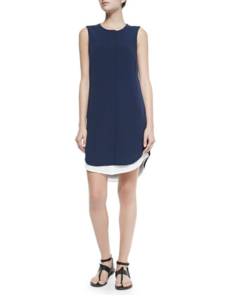 Sleeveless Crepe Shirtdress W/ Long Tail