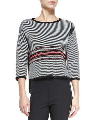 Dawn 3/4-Sleeve Striped Pullover
