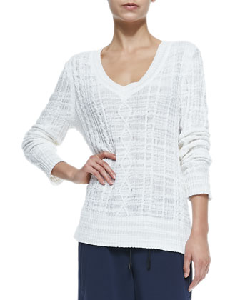 Shana V-Neck Cable-Knit Sweater