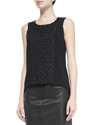 Mijo Sleeveless Top W/ Lace Panel