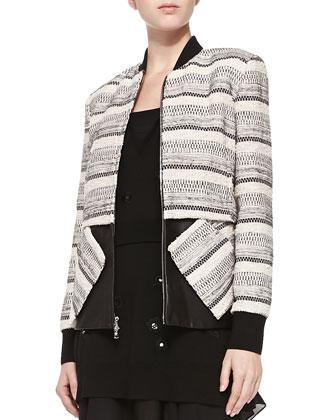 Zip-Front Tweed & Leather Jacket