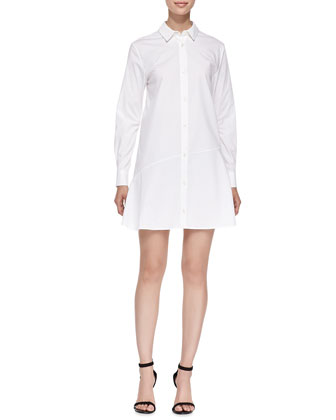 Bias-Seam Cotton Shirtdress