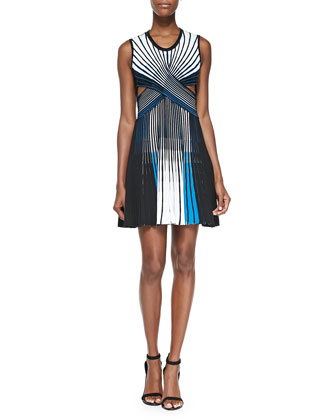 Striped Pleated Cutout Dress