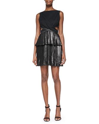 Foiled Pleated Combo Cutout Dress