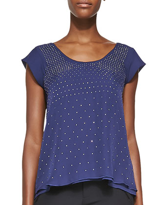 Studded Short-Sleeve 2-Layer Top