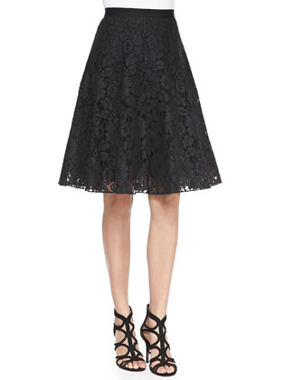 Flared Corded Lace Skirt