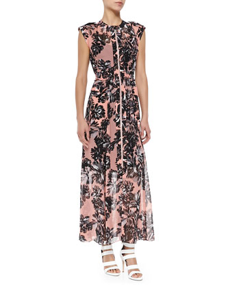 Cap-Sleeve Splashed Flower Maxi Dress