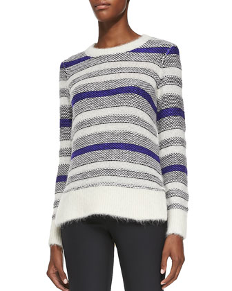 Fuzzy Long-Sleeve Striped Pullover