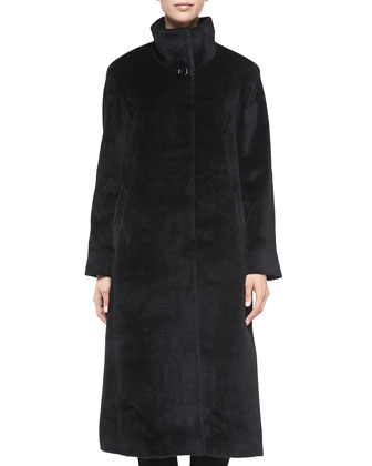 Hidden-Button Maxi Coat, Black