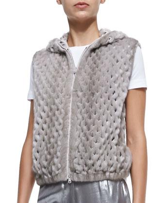 Hooded Perforated Mink Fur Vest
