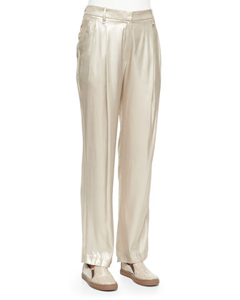 Metallic Pleated Wide-Leg Pants, Champagne