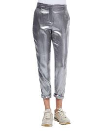 Silk Lam?? Roll-Cuffed Pants