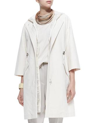 Long Zip-Front Coat W/ Bracelet Sleeves