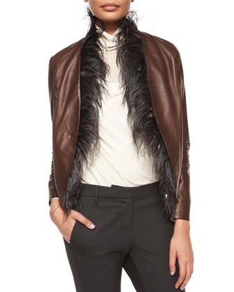 Feather-Trimmed Leather Tux Jacket, Vanilla