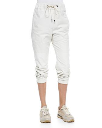 Pull-On Napa Leather Pants