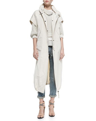 Short-Sleeve Hooded Taffeta Maxi Coat