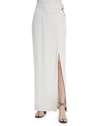 Belted Slit Maxi Skirt, Vanilla