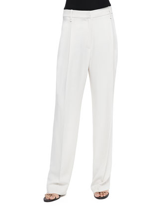 Wide-Leg Pleated Crepe Pants