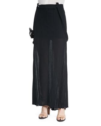 Long Pleated Skirt W/ Suspenders