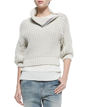 Half-Sleeve Sweater W/ Zip Shoulder