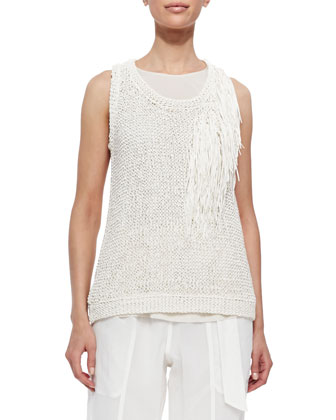 Loose-Knit Tank Top with Fringe