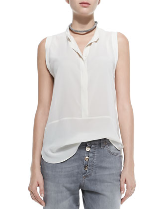 Sleeveless Hidden-Placket Silk Henley Blouse