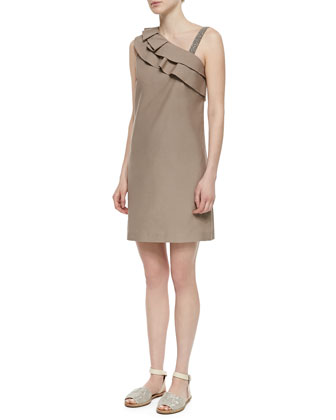 Ruffle-Shoulder Glitter-Strap Dress, Taupe