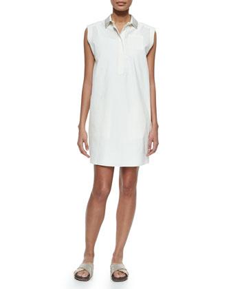 Sleeveless Glitter-Collar Shirtdress, White