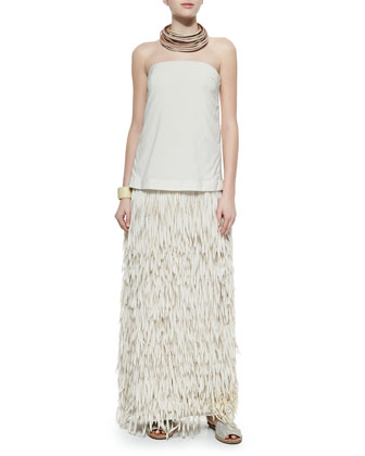 Strapless Layered Fringe Gown, Vanilla