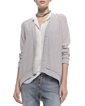 Snap-Front Cardigan W/ Arched Hem
