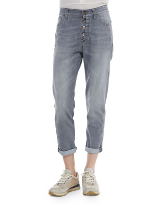 Button-Fly Jeans W/ Rolled Cuffs, Gray