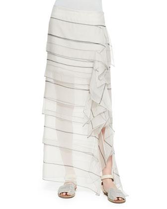 Striped Organza Waterfall Maxi Skirt, Vanilla