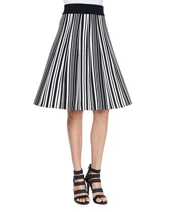 Hatu Striped A-Line Skirt