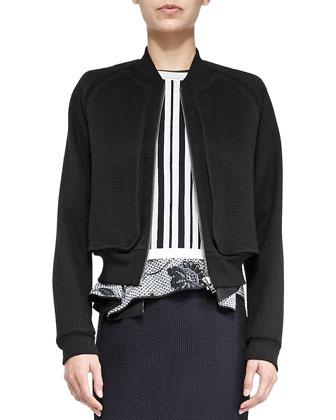 Perforated Knit-Trim Coat