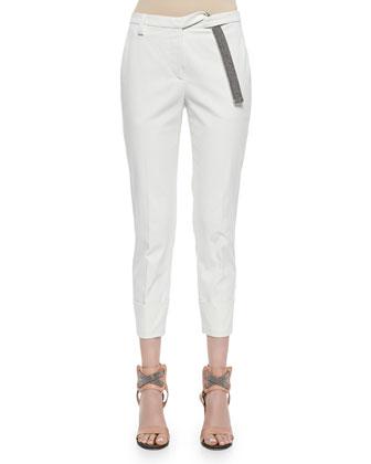 Wide-Cuffed Monili-Belt Pants, White