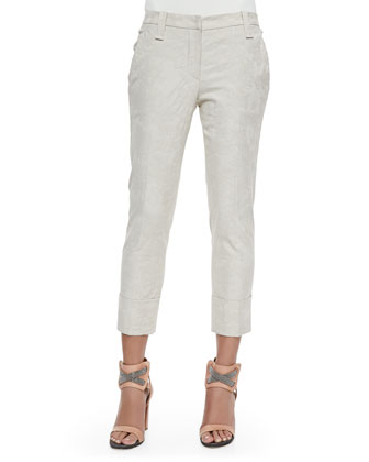 Hawaiian Jacquard Cuffed Ankle Pants, Vanilla