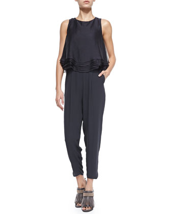 Jumpsuit W/ Layered Flounce Popover