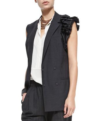 Lightweight Vest W/ Ruffled Shoulder