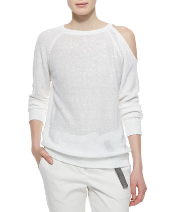 Sequined Single Cold-Shoulder Sweater, White