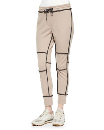 Cashmere Contrast-Piped Sweatpants, Peanut