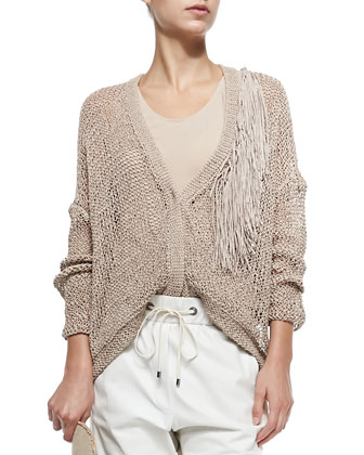 Open-Weave Cardigan W/ Fringe Accent