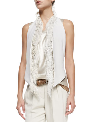 Vest with Ostrich Feather Placket