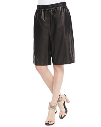 Elongated Pull-On Leather Shorts