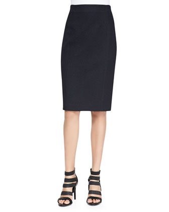 Basket-Woven Pencil Skirt