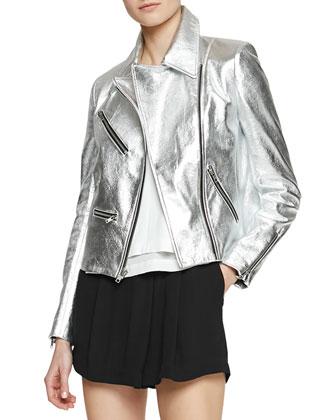 Adeline Metallic Leather Moto Jacket