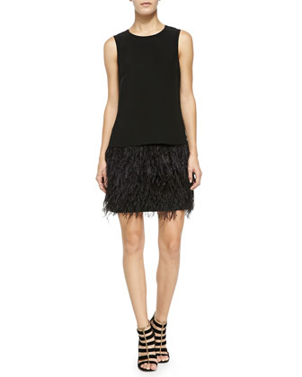 Cera Tuxedo Dress W/ Feather Hem